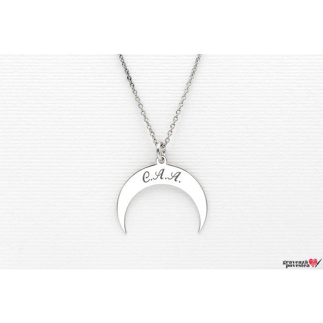 Colier luna 22 mm personalizata gravura initiale Argint 925 rodiat