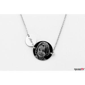 Colier doi banuti 10/ 17 mm personalizati gravura foto Argint 925 rodiat
