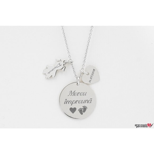 Colier pentru mama banut 19 mm personalizat gravura text Argint 925 rodiat (1 copil)