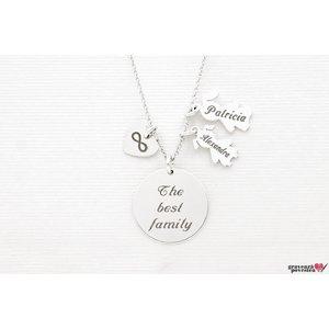Colier pentru mama banut 19 mm personalizat gravura text Argint 925 rodiat  (2-3 copii)