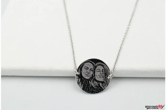 Colier banut fix 17 mm personalizat gravura foto Argint 925 rodiat