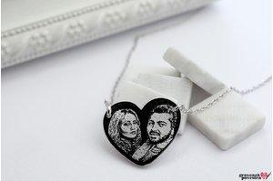 Colier inima fixa 20 mm personalizata gravura foto Argint 925 rodiat