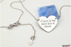 Colier inima fixa 20 mm personalizata gravura text Argint 925 rodiat