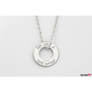 Colier disc 20 mm personalizat gravura text Argint 925 rodiat (lant Beads)