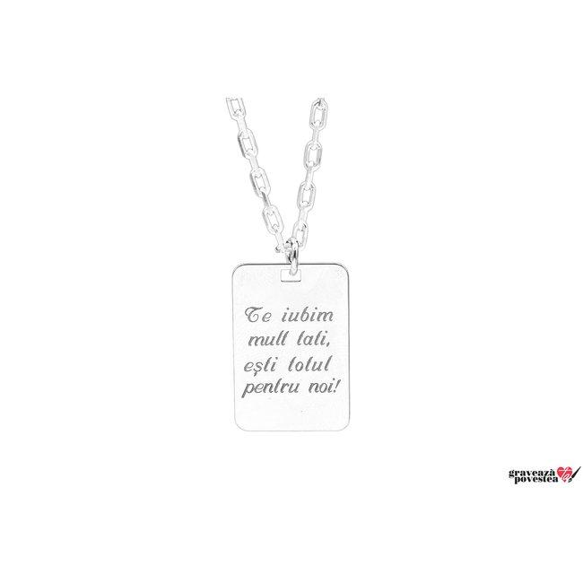 Colier placuta 30 mm personalizata gravura text Argint 925 rodiat (lant Cable XL)