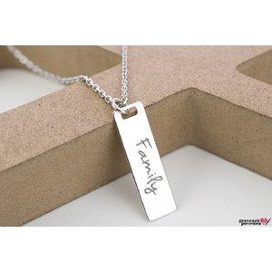 Colier tablita 28 mm personalizata gravura text (lant Cable)
