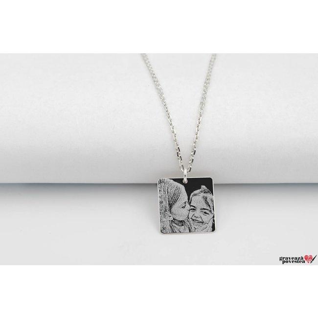 Colier patrat 16.5 mm personalizat gravura foto Argint 925 rodiat (lant Cable)