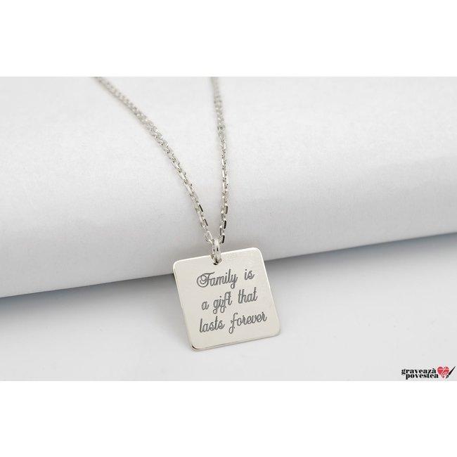 Colier patrat 16.5 mm personalizat gravura text Argint 925 rodiat (lant Cable)