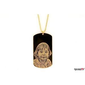 Colier placuta Army 50 mm personalizata gravura foto Argint 925 placat cu aur (lant Beads)