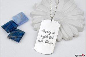 Colier placuta Army 50 mm personalizata gravura text Argint 925 rodiat (lant Beads)
