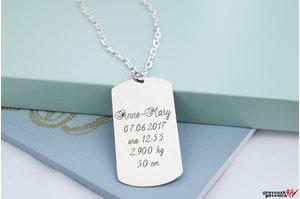 Colier placuta Army 50 mm personalizata gravura text Argint 925 rodiat (lant Cable XL)
