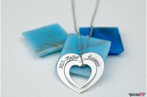 Colier inima in inima 20 mm personalizat gravura text Argint 925 rodiat