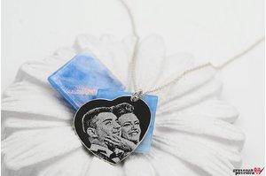 Colier inima 24 mm personalizata gravura foto Argint 925 rodiat