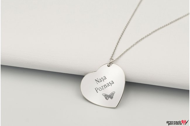 Colier inima 24 mm personalizata gravura text Argint 925 rodiat