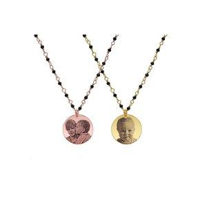 Colier lant tip rozariu banut 17 mm personalizat gravura foto Argint placat cu Aur galben 24K sau roz 18K