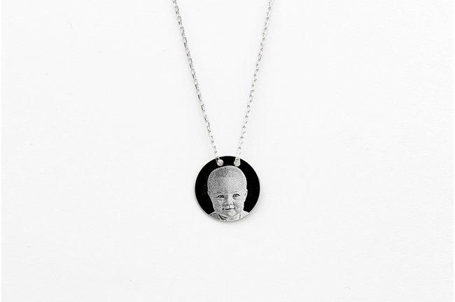 Colier lantisor trecut prin banut 12 mm personalizat gravura foto Argint 925 rodiat