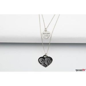 Colier lantisor dublu inima 20 mm & 12 mm personalizat gravura foto Argint 925 rodiat