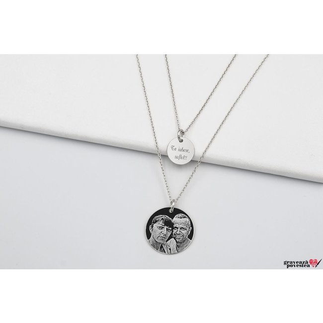 Colier lantisor dublu banut 10 mm & 17 mm personalizati gravura foto Argint 925 rodiat