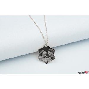 Colier lotus 20 mm personalizata gravura foto Argint 925 rodiat