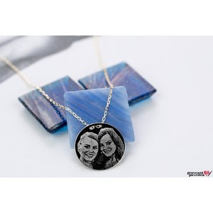 Colier lantisor trecut prin banut 15 mm personalizat gravura foto Argint 925 rodiat