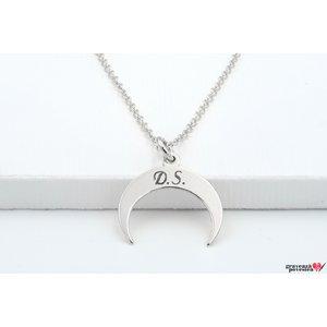Colier luna 15 mm personalizata gravura initiale Argint 925 rodiat