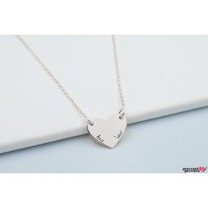 Colier inima fixa 15 mm personalizata gravura text Argint 925 rodiat