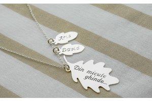 Colier ghinde si frunza de stejar 34 mm personalizate gravura text (mama si copiii)