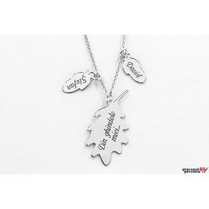Colier ghinde si frunza de stejar 34 mm personalizate gravura text Argint 925 rodiat (mama si copiii)