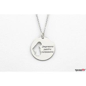 Colier banut viitoare mama decupata 19 mm personalizat gravura text Argint 925 rodiat