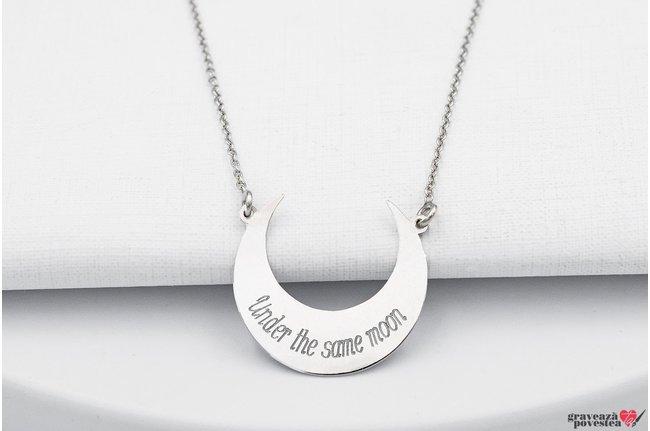 Colier luna fixa 22 mm personalizata gravura text Argint 925 rodiat