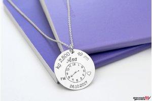 Colier ceasul bebelusului banut 22 mm personalizat gravura foto Argint 925 rodiat