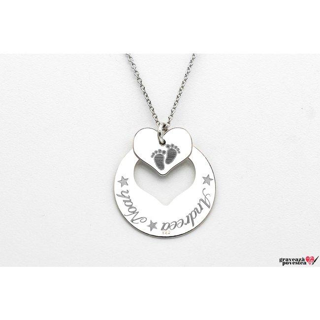 Colier banut inima decupata 22 mm personalizata gravura text Argint 925 rodiat