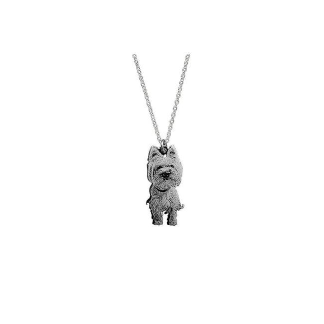 Colier decupaj silueta/ animalut 30 mm/ 10 mm personalizat gravura text/ foto Argint 925 rodiat
