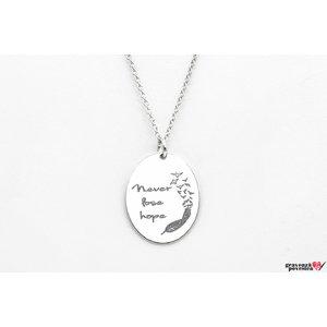 Colier oval 21 mm personalizat gravura text Argint 925 rodiat