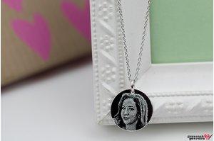 Colier banut 17 mm personalizat gravura foto Argint 925 rodiat