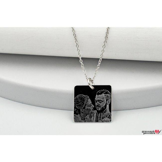 Colier patrat 15 mm personalizat gravura foto Argint 925 rodiat