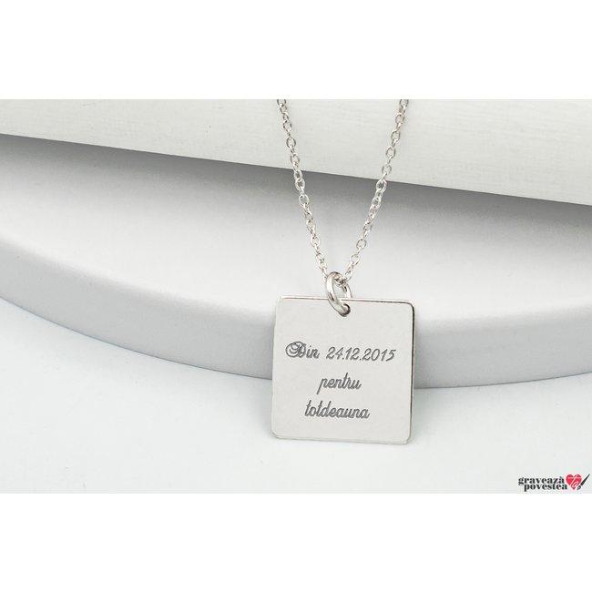 Colier patrat 15 mm personalizat gravura text Argint 925 rodiat
