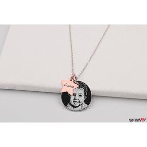 Colier banut 17 mm - luna si stea personalizat gravura foto Argint 925 rodiat