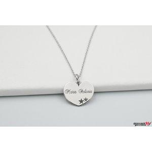 Colier inima cu stelute decupate 15 mm personalizata gravura text Argint 925 rodiat