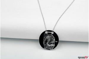 Colier banut 22 mm personalizat gravura foto Argint 925 rodiat