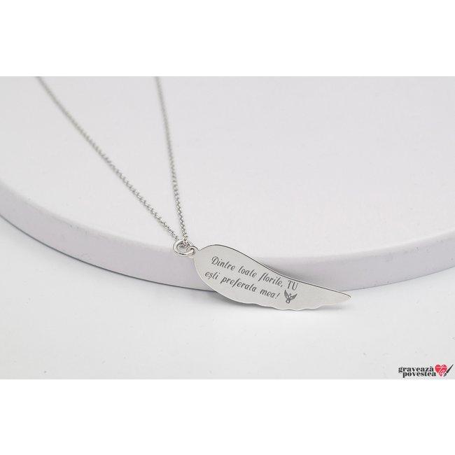 Colier aripa ingeras 36 mm personalizata gravura text Argint 925 rodiat