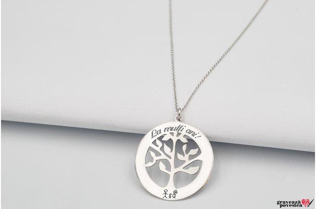 Colier copacul vietii 28 mm personalizat gravura text Argint 925 rodiat