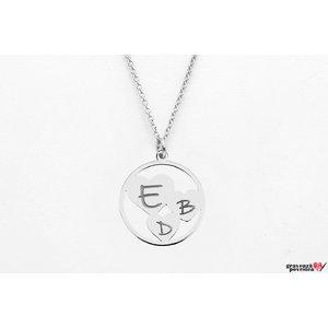 Colier trei inimi in cerc personalizate gravura text Argint 925 rodiat