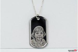 Colier placuta clasica Army 50 mm personalizata gravura foto Argint 925 rodiat (lant Beads)