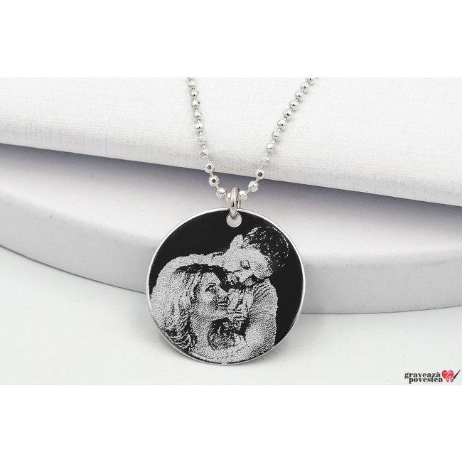 Colier banut 22 mm personalizat gravura foto Argint 925 rodiat (lant Beads)
