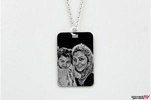 Colier placuta 30 mm personalizata gravura foto Argint 925 rodiat (lant Cable)