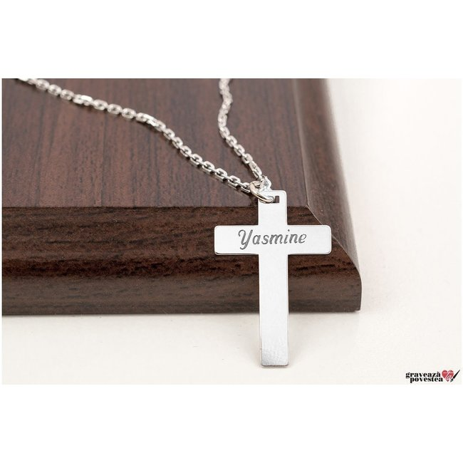 Colier cruce 28 mm personalizata gravura text Argint 925 rodiat (lant Cable)
