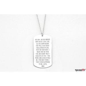 Colier placuta Army 50 mm personalizata gravura text Argint 925 rodiat (lant Cable)