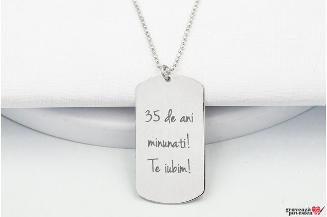Colier placuta Army 38 mm personalizata gravura text Argint 925 rodiat (lant Beads)