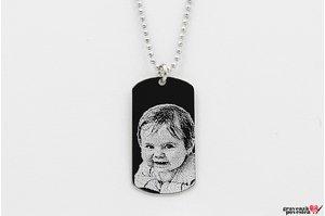 Colier placuta Army 28 mm personalizata gravura foto Argint 925 rodiat (lant Beads)